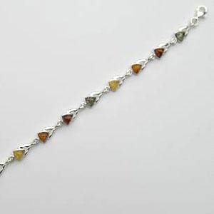 Bracelet triangles - bijou ambre et argent
