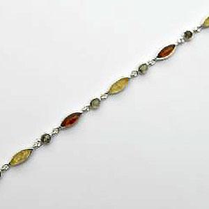 Bracelet rond-ovale - bijou ambre et argent