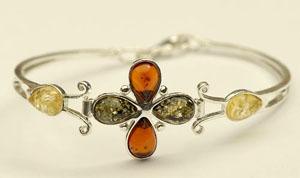 Bracelet  rigide fleur - bijou ambre et argent