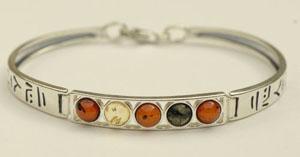 Bracelet rigide rond - bijou ambre et argent