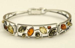 Bracelet rigide pétales - bijou ambre et argent
