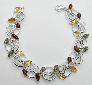 Bracelet Pétales multicolores - bijou ambre et argent