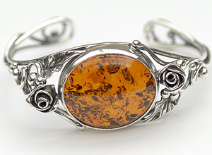 Bracelet rigide roses , bijou ambre et argent
