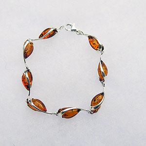 Bracelet goutte lien d'argent - bijou ambre et argent