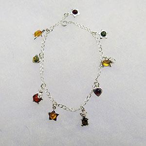 Bracelet charmes  - bijou ambre et argent