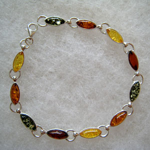 Bracelet grande navette - bijou ambre et argent