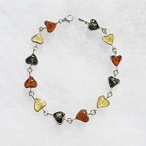 Bracelet coeur plein  - bijou ambre et argent