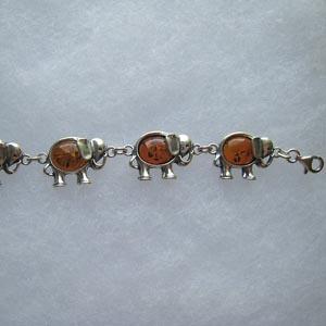 Bracelet elephant - bijou ambre et argent