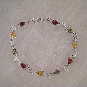 Bracelet poisson - bijou ambre et argent