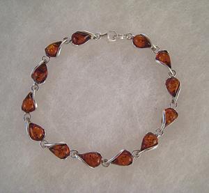 Bracelet gouttelettes lacées - bijou ambre et argent