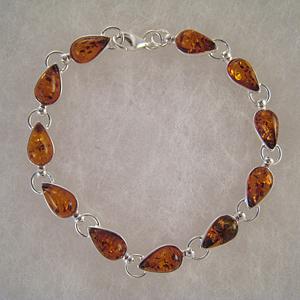 Bracelet gouttes  GM - bijou ambre et argent