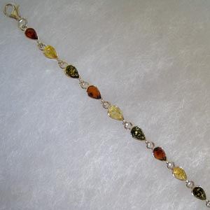 Bracelet gouttes - bijou ambre et argent