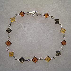 Bracelet losange - bijou ambre et argent