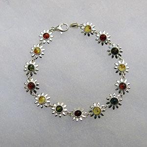Bracelet marguerite - bijou ambre et argent