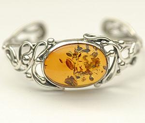Bracelet rigide ajustable - bijou ambre et argent