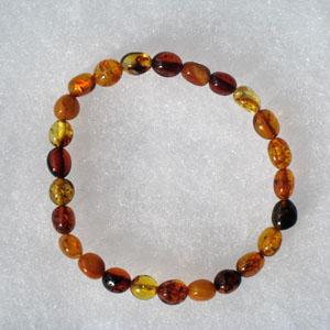 Bracelet olive élastique - bijou ambre et argent