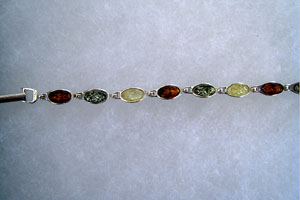 Bracelet ovale - bijou ambre et argent