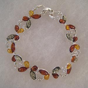 Bracelet papillons multicolores - bijou ambre et argent