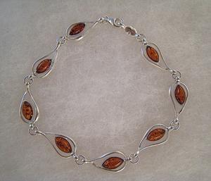 Bracelet ovale d'ambre - bijou ambre et argent