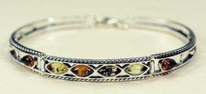 Bracelet rigide épi - bijou ambre et argent
