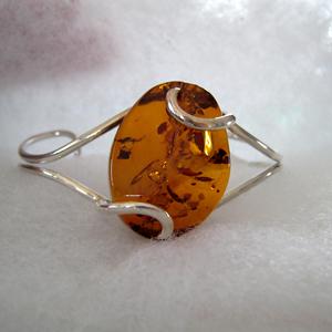 Bracelet rigide cabochon - bijou ambre et argent