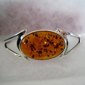 Bracelet rigide - bijou ambre et argent
