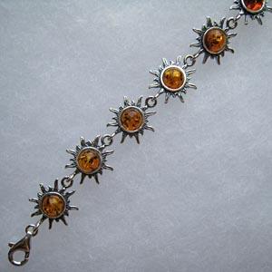 Bracelet soleil - bijou ambre et argent