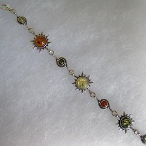 Bracelet soleil alterné - bijou ambre et argent