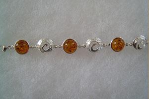 Bracelet spirales - bijou ambre et argent