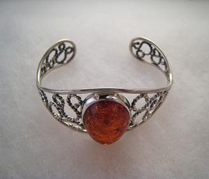 Bracelet tortillons  - bijou ambre et argent