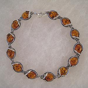Bracelet style ancien ovale cognac - bijou ambre et argent