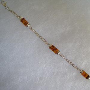 Bracelet tube - bijou ambre et argent