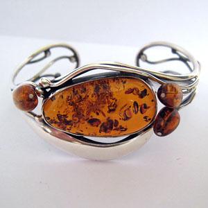 Bracelet  unique cabochon - bijou ambre et argent