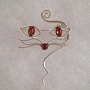 Broche chat moustache - bijou ambre et argent