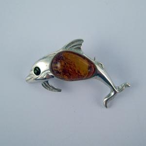 Broche dauphin - bijou ambre et argent