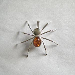 Broche araignée - bijou ambre et argent
