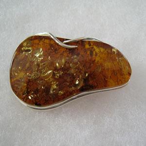 Broche cabochon - bijou ambre et argent