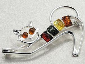 Broche chat - bijou ambre et argent