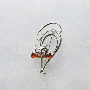Broche chat noeud papillon - bijou ambre et argent