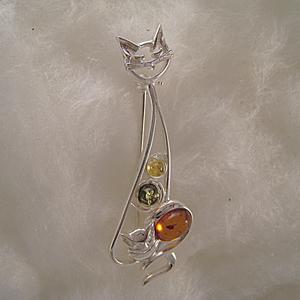 Broche chat avec son petit - bijou ambre et argent