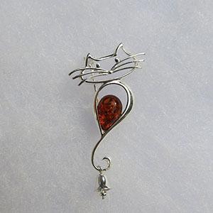 Broche chat clochette - bijou ambre et argent