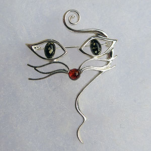 Broche chat multicolore - bijou ambre et argent