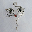 Broche chat multicolore