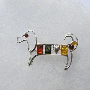 Broche chien multicolore  - bijou ambre et argent