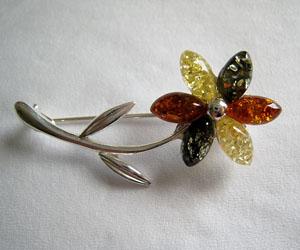 Broche fleur - bijou ambre et argent
