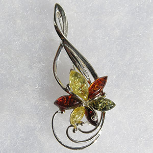 Broche fleur clé de sol  - bijou ambre et argent