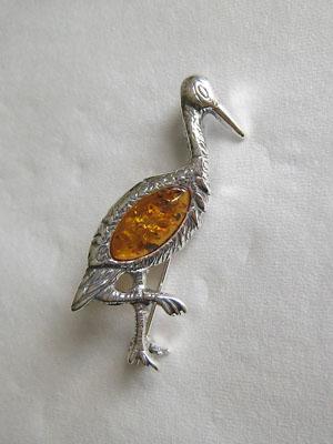 Broche héron - bijou ambre et argent