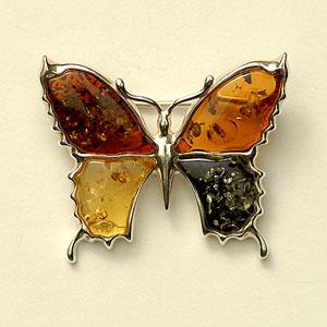 Broche papillon multicolore - bijou ambre et argent