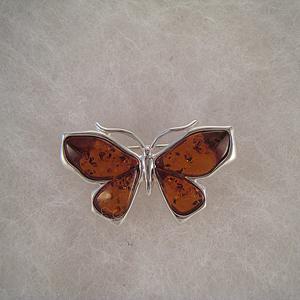 Broche papillon ailes d'ambre - bijou ambre et argent