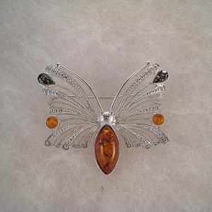Broche papillon fin - bijou ambre et argent
